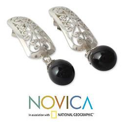 Handmade Sterling Silver 'Mughal Melody' Onyx Earrings (India) - Thumbnail 2