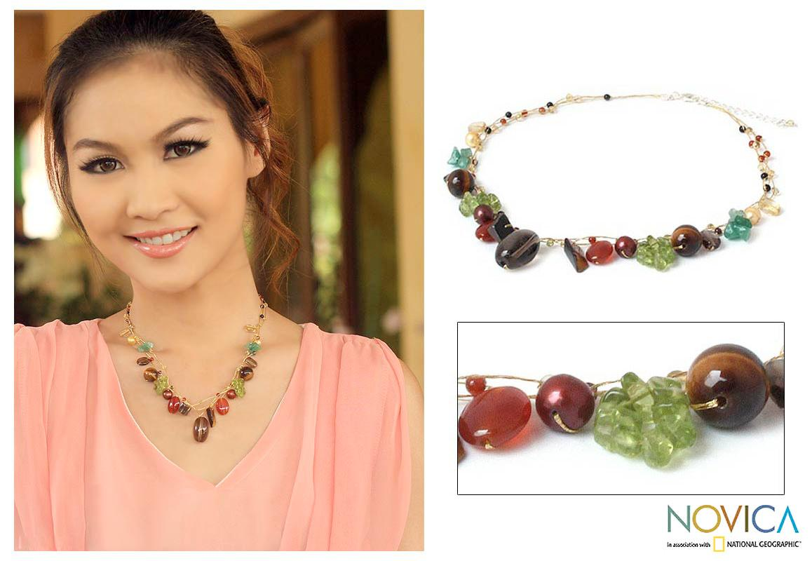 Handmade Multi-gemstone 'Jungle Fruit' Pearl Necklace (6.5-8 mm) (Thailand)