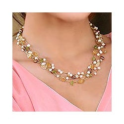 Multi-gemstone 'Awakening' Pearl Necklace (3.5-7.5 mm) (Thailand)
