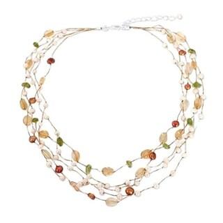 Handmade Multi-gemstone 'Awakening' Pearl Necklace (3.5-7.5 mm) (Thailand) - Brown