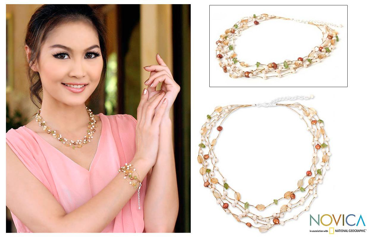 Handmade Multi-gemstone 'Awakening' Pearl Necklace (3.5-7.5 mm) (Thailand)