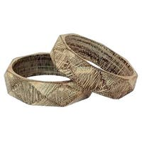 Handmade Set of 2 Mango Wood 'Vintage Forest' Bangle Bracelets (India)