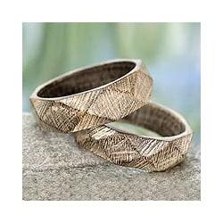 Set of 2 Mango Wood 'Vintage Forest' Bangle Bracelets (India)