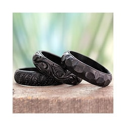 Set of 3 Mango Wood 'Glorious Goa' Bangle Bracelets (India)