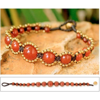 Brass 'Thai Passion' Chalcedony Bracelet (Thailand)