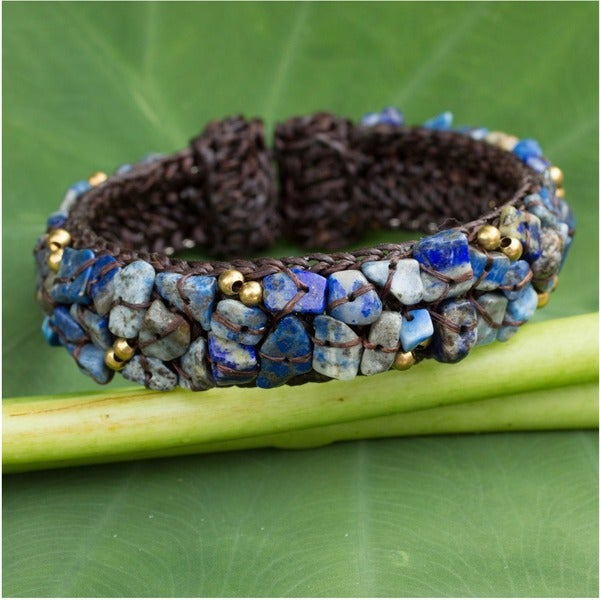 Handmade Brass 'Ocean Day' Lapis Lazuli Bracelet (Thailand)