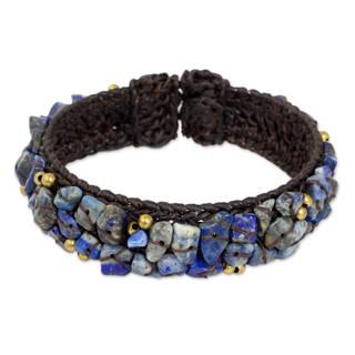 Handmade Brass 'Ocean Day' Lapis Lazuli Bracelet (Thailand) - Blue