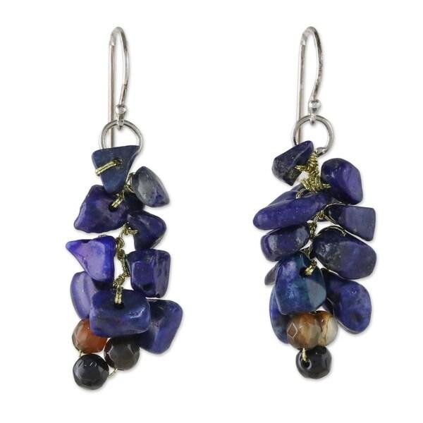 a62da71f80f02 Shop Silver 'Afternoon Blue' Lapis Lazuli Agate Earrings (Thailand ...