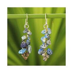 Handmade Silver 'Afternoon Blue' Lapis Lazuli Agate Earrings (Thailand)
