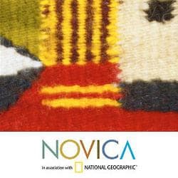 Handcrafted Wool 'Women of Oaxaca' Red Zapotec Rug1.5x6.5 (Mexico) - Thumbnail 2