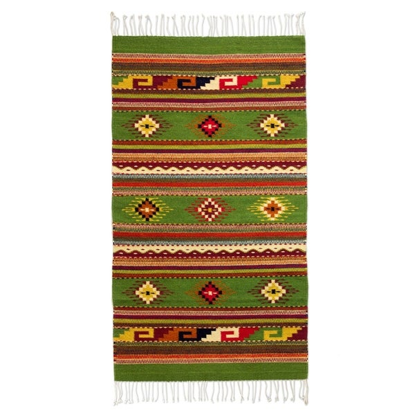 Shop Handmade Wool 'Oaxaca Forest' Green Zapotec Rug (2