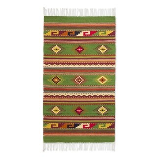 Handmade Wool 'Oaxaca Forest' Green Zapotec Rug (2.5x5.5) (Mexico) - 2'6 x 5'6