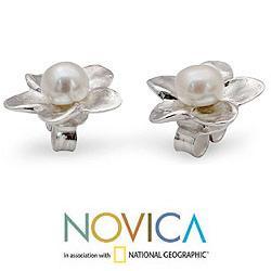 Handmade Sterling Silver 'White Jasmine' Pearl Earrings (4 mm) (India) - Thumbnail 1