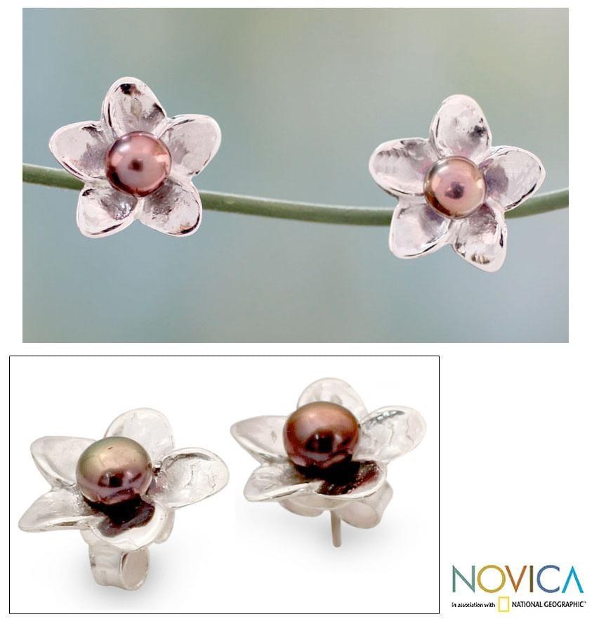 Sterling Silver 'Shadow Jasmine' Pearl Earrings (4 mm) (India)