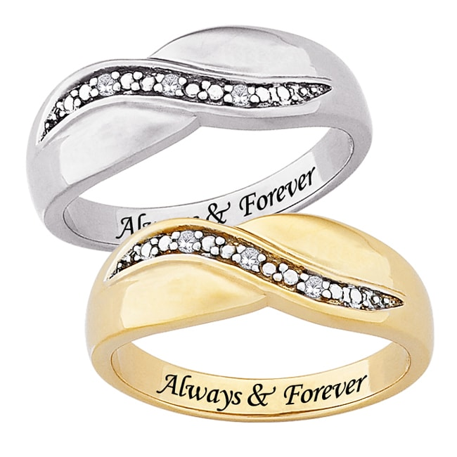 Sterling Silver or 14k Gold over Sterling Silver 'Always & Forever' Engraved Diamond Ring - Thumbnail 0