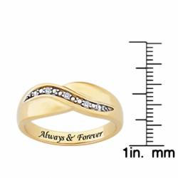 Sterling Silver or 14k Gold over Sterling Silver 'Always & Forever' Engraved Diamond Ring - Thumbnail 2