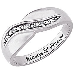 Sterling Silver or 14k Gold over Sterling Silver 'Always & Forever' Engraved Diamond Ring - Thumbnail 1