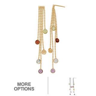 Gioelli Sterling Silver Genuine Multi-Gemstone Earrings