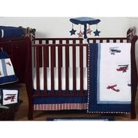 Sweet Jojo Designs Red, White, and Blue Aviator Plane 11-piece Bumperless Crib Bedding Set