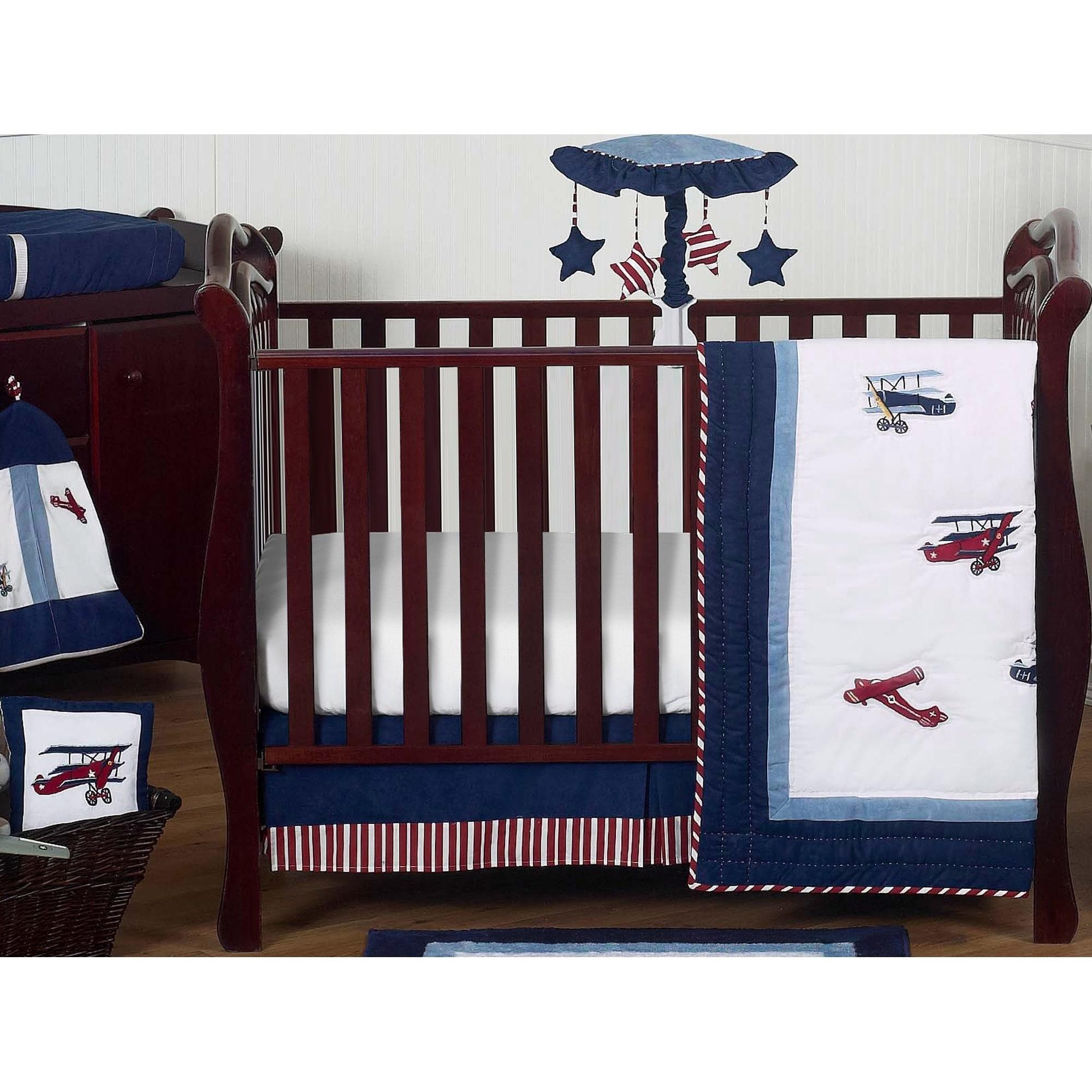 Sweet Jojo Designs Red White And Blue Aviator Plane 11 Piece Perless Crib Bedding Set