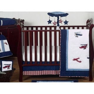 Sweet Jojo Designs Red, White, and Blue Aviator Plane 11-piece Bumperless Crib Bedding Set