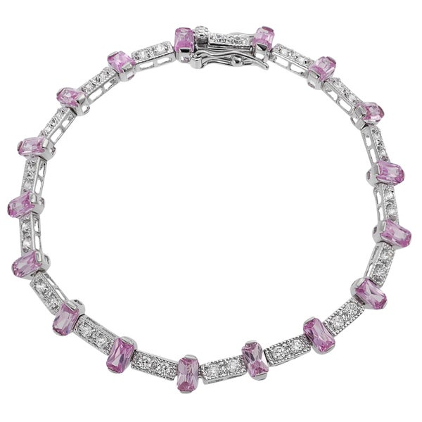 Journee Collection Sterling Silver Pink and White Cubic Zirconia Tennis Bracelet
