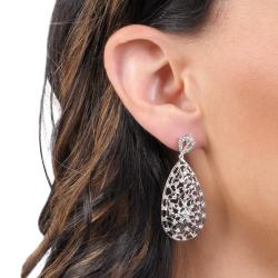 Journee Collection  Sterling Silver White Cubic Zirconia Lace Web Tear Drop Earring - Thumbnail 2
