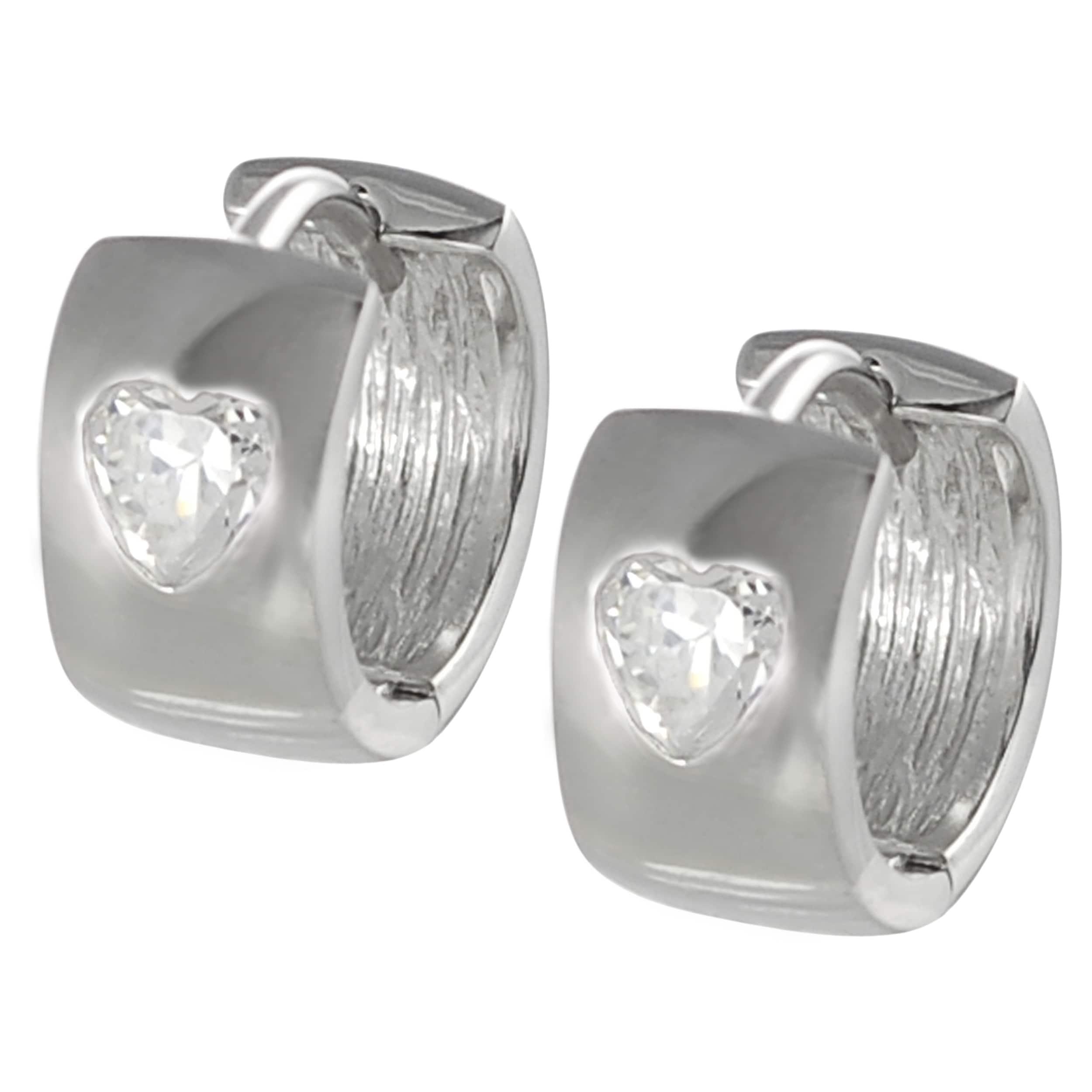 Journee Collection Sterling Silver White Cubic Zirconia Heart Mini Hoop Earrings