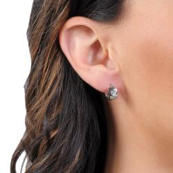 Journee Collection Sterling Silver White Cubic Zirconia Heart Mini Hoop Earrings - Thumbnail 2