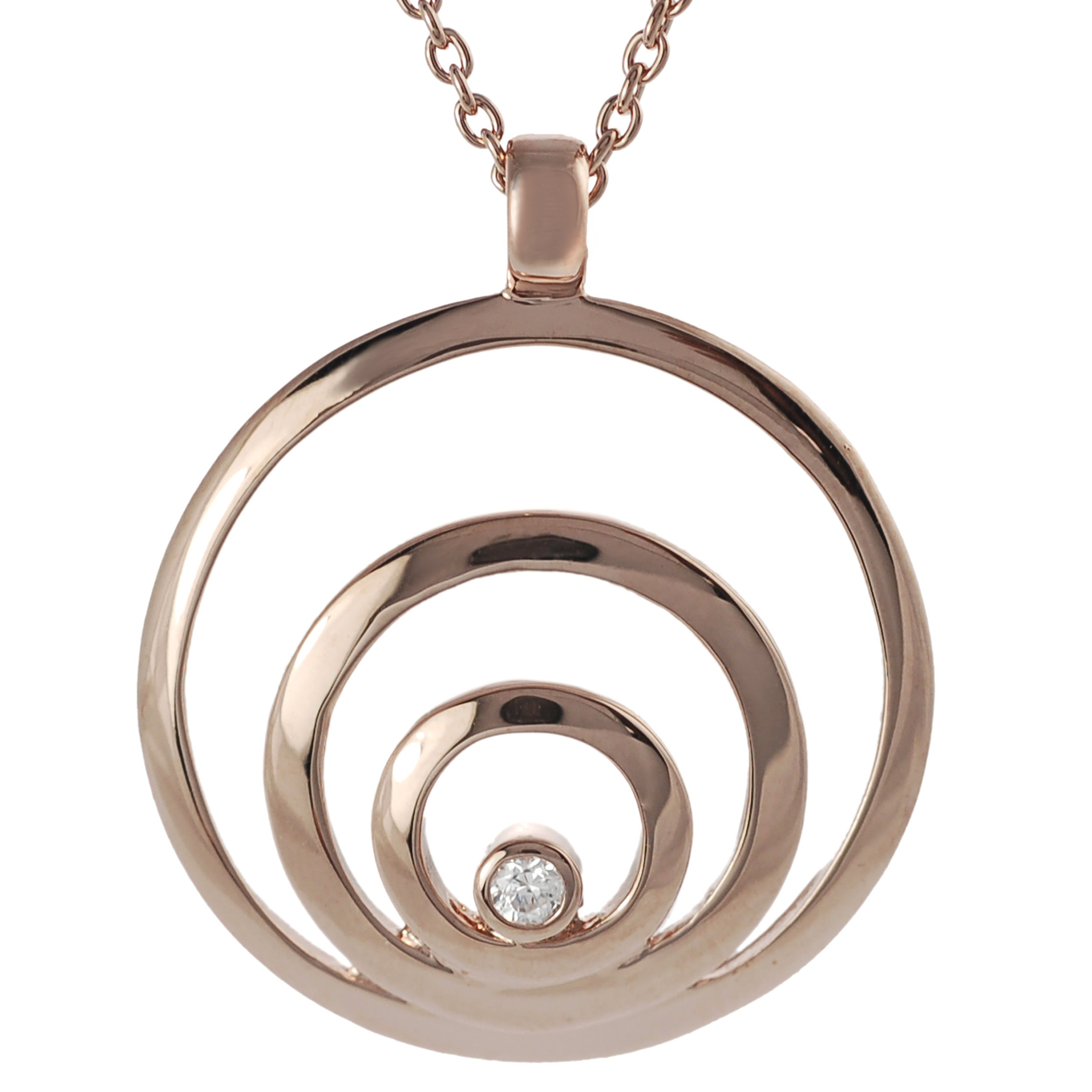 Journee Rose Gold-plated Silver White Cubic Zirconia Circles Necklace