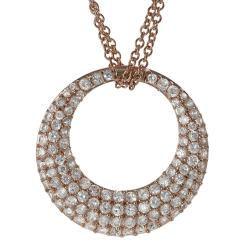 Journee Collection Rose Gold-plated Silver White Cubic Zirconia Crescent Necklace