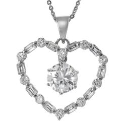 Journee Collection  Sterling Silver White Cubic Zirconia Heart Necklace