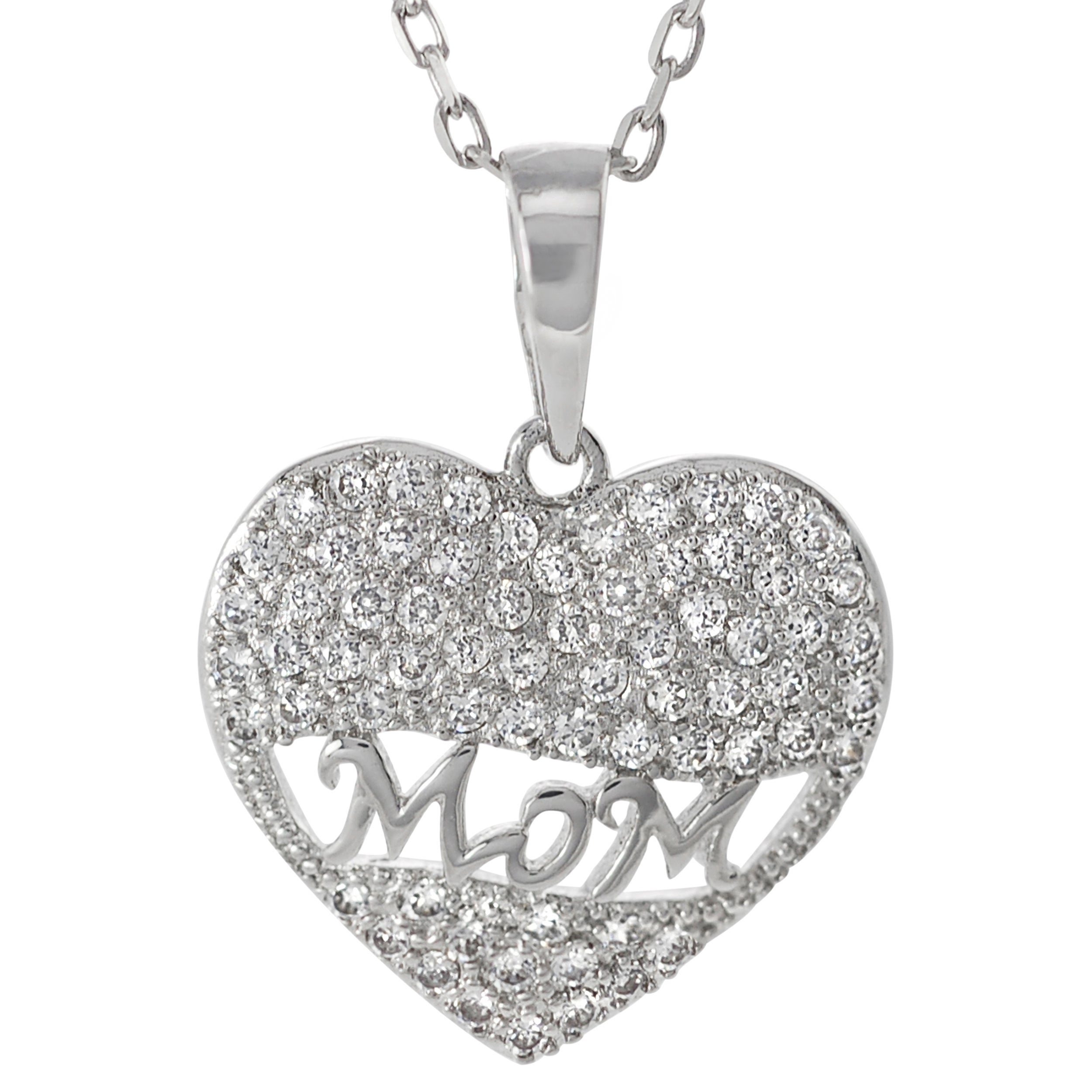 Journee Collection  Sterling Silver White Cubic Zirconia 'Mom' Heart Necklace - Thumbnail 0