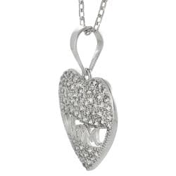 Journee Collection  Sterling Silver White Cubic Zirconia 'Mom' Heart Necklace - Thumbnail 1