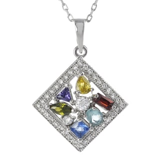 Journee Collection  Sterling Silver Multi-colored Cubic Zirconia Necklace