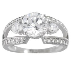 Journee Collection  Sterling Silver Round Solitaire Cubic Zirconia Engagement Ring