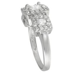 Journee Collection Sterling Silver Princess-cut Cubic Zirconia Engagement Ring - Thumbnail 1