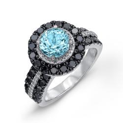 Sterling Silver Blue Topaz 1 1/2ct TDW White and Black Diamond Ring (JK, I2-I3) - Thumbnail 1