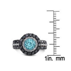 Sterling Silver Blue Topaz 1 1/2ct TDW White and Black Diamond Ring (JK, I2-I3) - Thumbnail 2