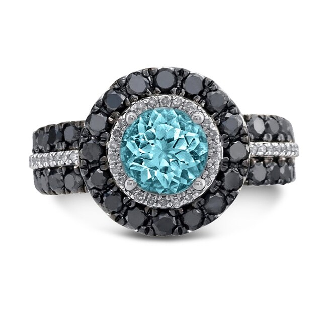 Sterling Silver Blue Topaz 1 1/2ct TDW White and Black Diamond Ring (JK, I2-I3)