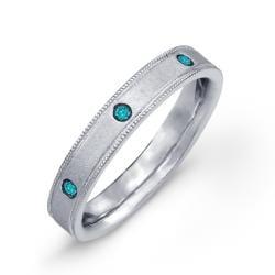 Victoria Kay Sterling Silver 1/8ct TDW Blue Diamond Men's Eternity Ring (size 10.5) - Thumbnail 1