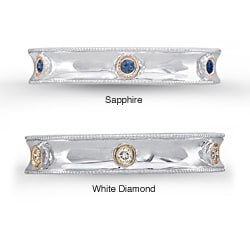 Sterling Silver and 14k Yellow Gold 1/10ct TDW White Diamond or Sapphire Eternity Ring (JK, I2-I3)
