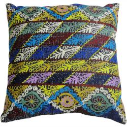 Handmade Ethnic Chic Embroidered Multicolor Floral Stripe Design Square Decorative Pillow