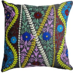 nuLOOM Handmade Ethnic Chic Embroidered Multi Decorative Pillow