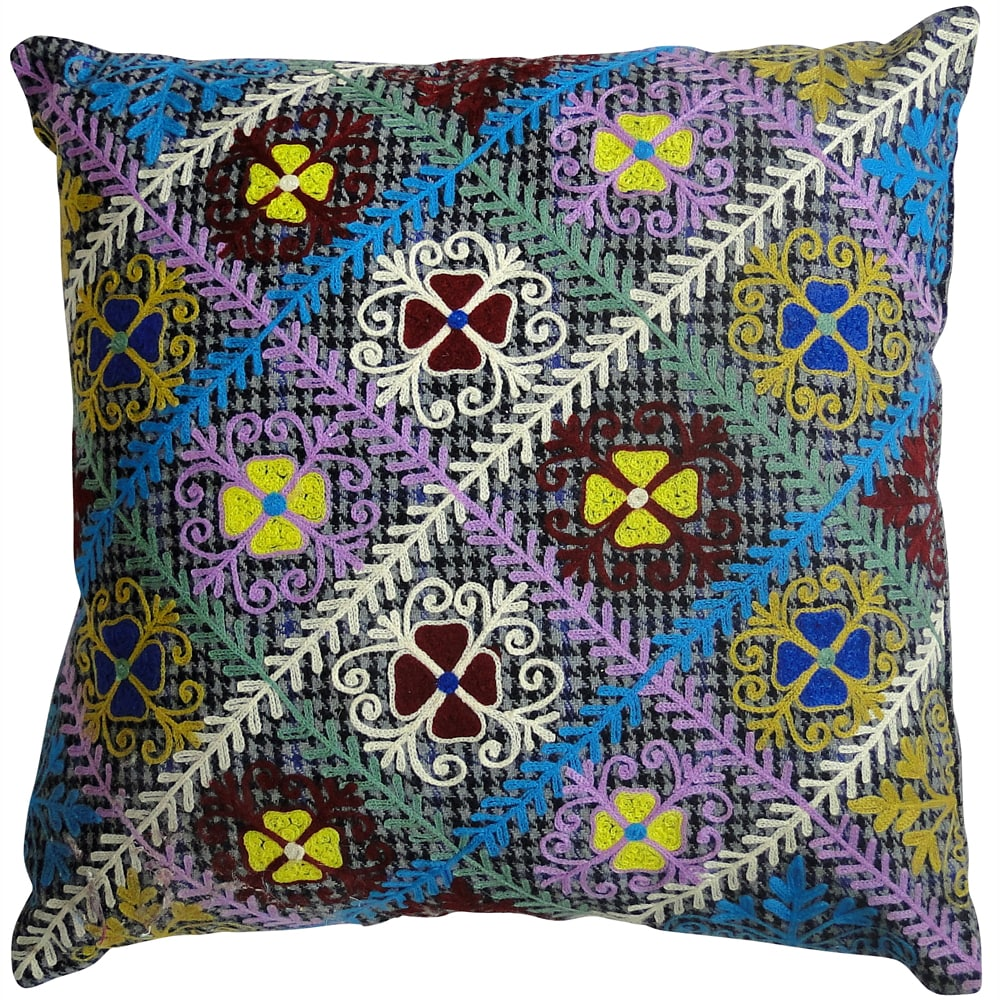 Handmade Ethnic Chic Embroidered Multicolor Repeating Floral Design Square Decorative Pillow
