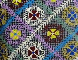 Handmade Ethnic Chic Embroidered Multicolor Repeating Floral Design Square Decorative Pillow - Thumbnail 1