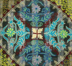 Handmade Ethnic Chic Embroidered Multicolor Single Floral Design Square Decorative Pillow - Thumbnail 2