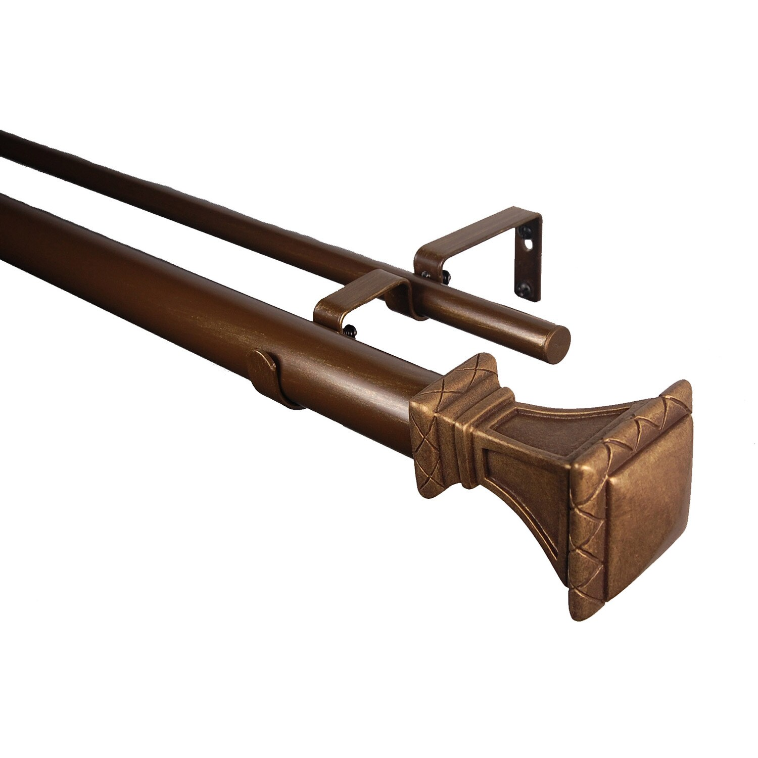 Adjustable Trumpeted Square Double Curtain Rod 48-86
