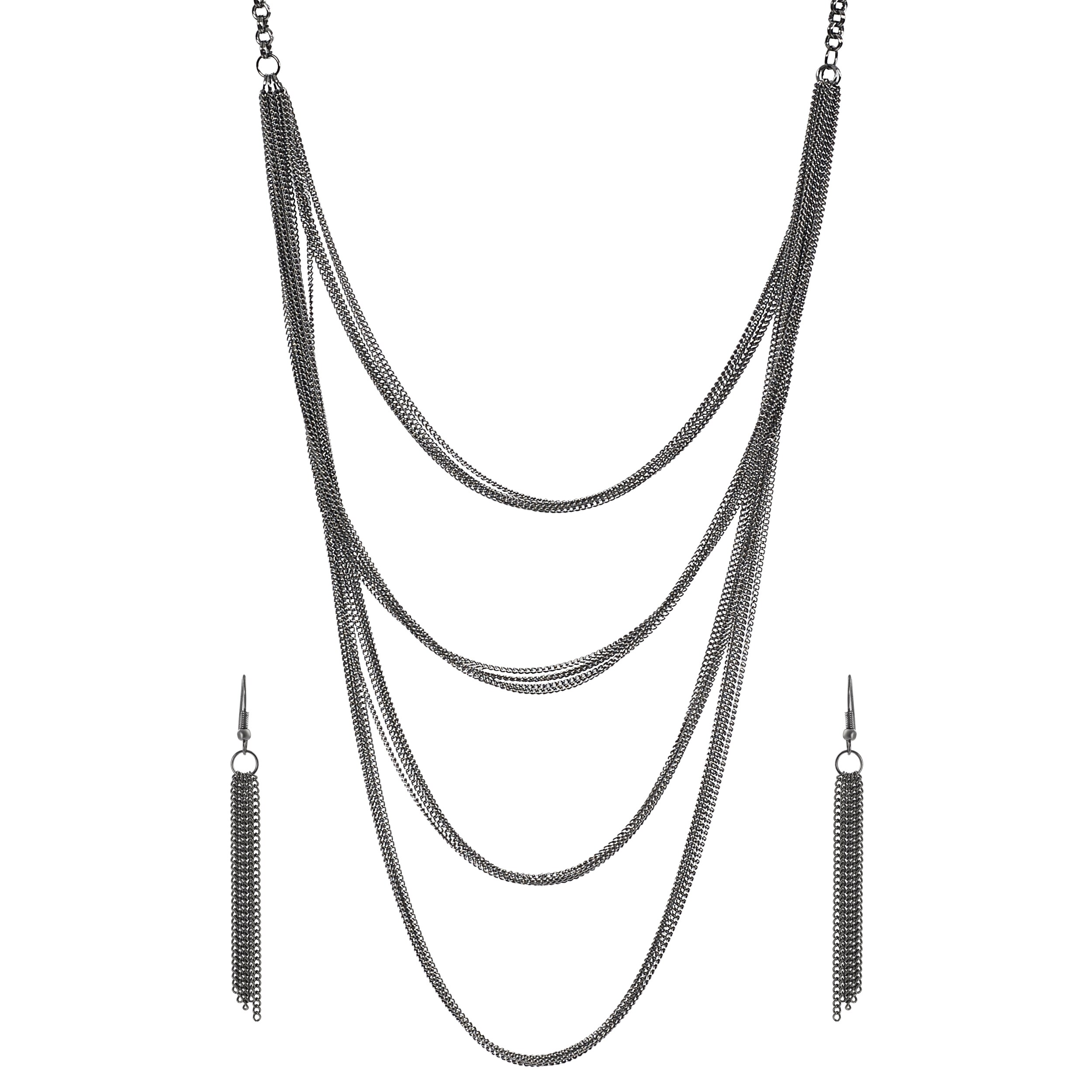 Journee Collection Rhodium-plate Base Chain Mail Necklace Earring Set - Thumbnail 0