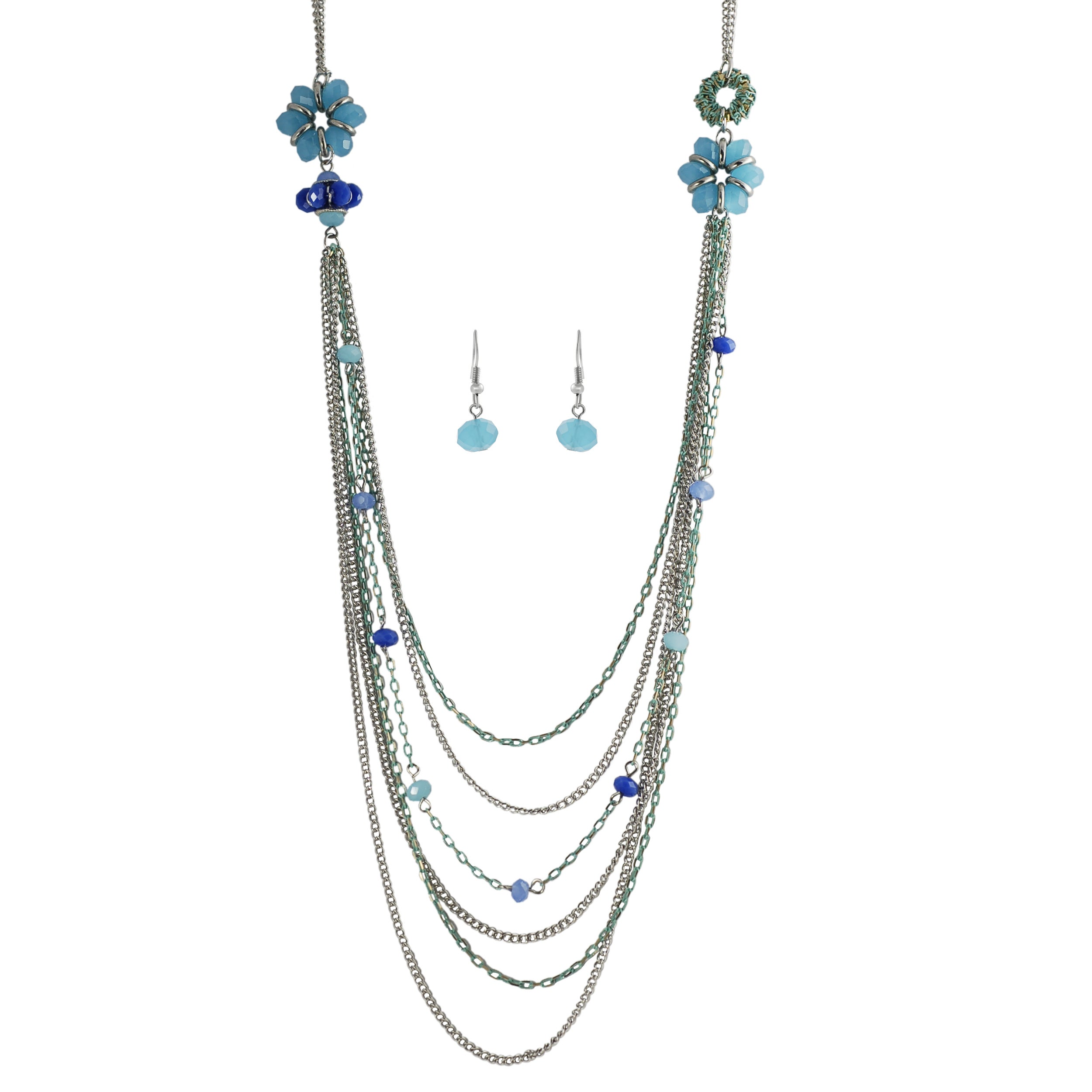 Journee Collection Silvertone Base Crystal Enamel Necklace Earring Set